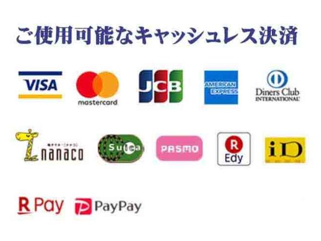 各種クレジットカード、各種交通系電子マネー、ナナコ、楽天Edy、ID、楽天ペイ、ペイペイ